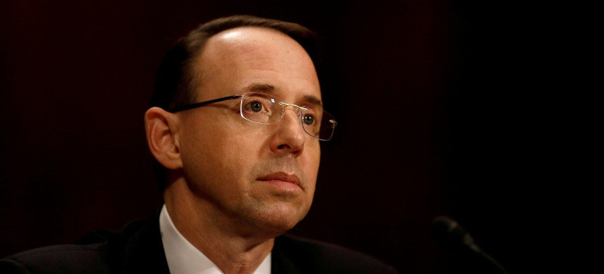 Rod Rosenstein testifies at his confirmation hearing to be deputy attorney general before the Senate Judiciary Committee on March 7, 2017. (photo: Aaron Bernstein/Reuters)