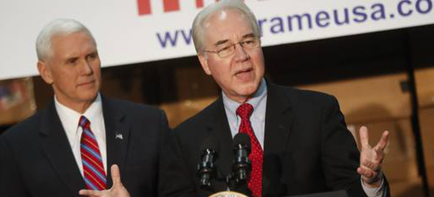 Health and Human Services secretary Tom Price, right, accompanied by Vice President Mike Pence. (photo: Getty)