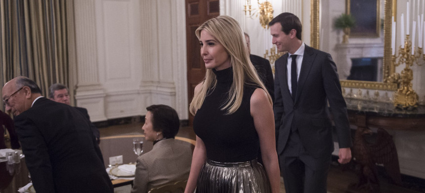 Ivanka Trump and Jared Kushner are shown their seats before President Trump speaks during a working lunch with ambassadors of countries on the United Nations Security Council and their spouses, April 24. (photo: Jabin Botsford/The Washington Post)