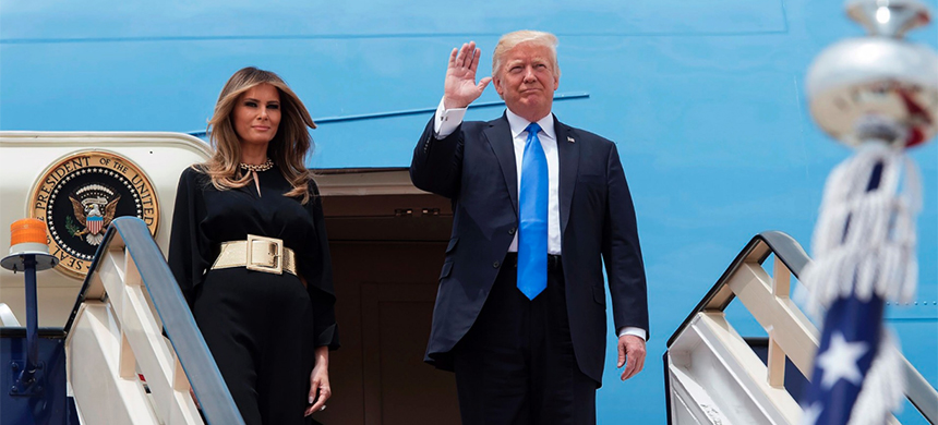 President Donald Trump and first lady Melania Trump step off Air Force One upon arrival at King Khalid International Airport in Riyadh, Saudi Arabia. (photo: Bandar Al-Jaloud/AFP/Getty Images)