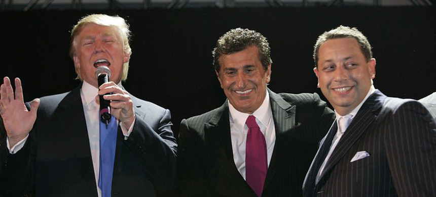 In 2007, Trump celebrated the launch of Trump SoHo with partners Tevfik Arif (center) and Felix Sater (right). Arif was later acquitted on charges of running a prostitution ring. (photo: Mark Von Holden/Getty)