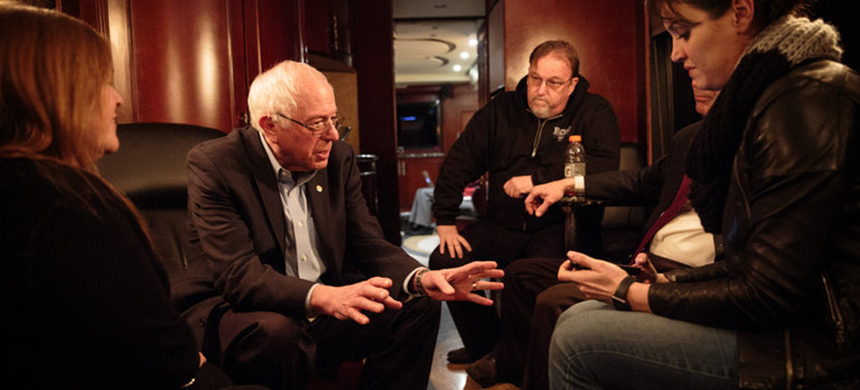 Senator Bernie Sanders and his wife, Jane, left, with Pete D'Alessandro, center right, Michael Briggs and Rania Batrice in January 2016. (photo: Max Whittaker/NYT)