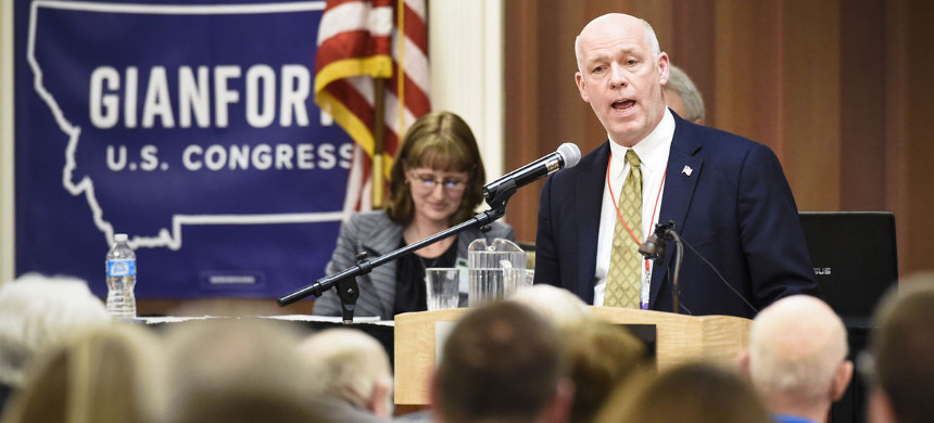 Greg Gianforte speaks at Republican party's nominating convention for up coming election to fill Ryan Zinke's empty seat in US House. (photo: Them Bridge/Missoulian)