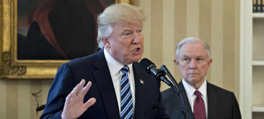 Donald Trump speaks at Jeff Sessions swearing in as US Attorney General. (photo: Getty)