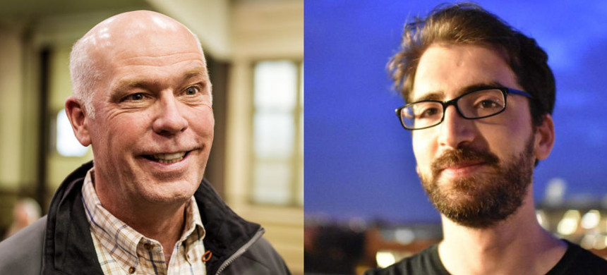 GOP congressional hopeful Greg Gianforte (left) assaulted Guardian reporter Ben Jacobs (right). (photo: Getty)