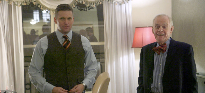 Richard Spencer (left) and William H. Regnery II, shown in a documentary by The Atlantic, have been instrumental in pushing white nationalism into the spotlight. In 2011, Regnery made Spencer the director of his white nationalist think tank, the National Policy Institute. (photo: Daniel Lombroso/The Atlantic)