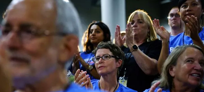 Activists at the Iowa CCI annual Convention. (photo: Brian Powers/The Des Moines Register)