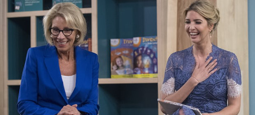 Betsy DeVos and Ivanka Trump in Washington on Tuesday. DeVos is viewed by many as the most dangerous and destructive education secretary since the post was created in 1979. (photo: UPI)