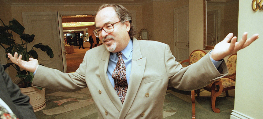 David Horowitz, founder of the David Horowitz Freedom Center, speaks to a reporter after a speech by then-Texas Gov. George W. Bush at the Beverly Hills Hotel in Beverly Hills, Calif., in 1998. (photo: Reed Saxon/AP)
