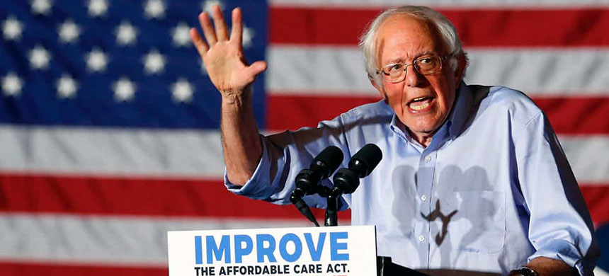 Sanders said: 'This will be an enormously difficult and  prolonged struggle, and one which will require the efforts of tens of  millions of Americans in every state in this country. (photo: Jay Laprete/AFP/Getty Images)