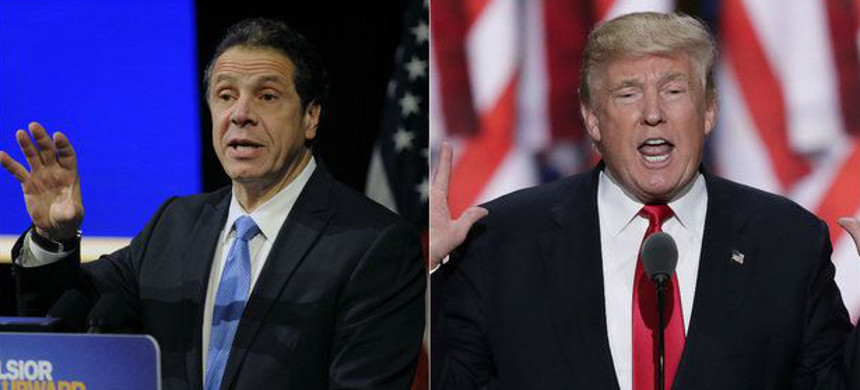 Governor of New York Andrew Cuomo (left) and Donald Trump (right). (photo: Getty)