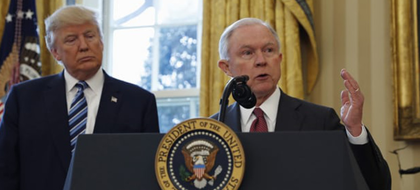 Donald Trump and attorney general Jeff Sessions. (photo: Pablo Martinez Monsivais/AP)