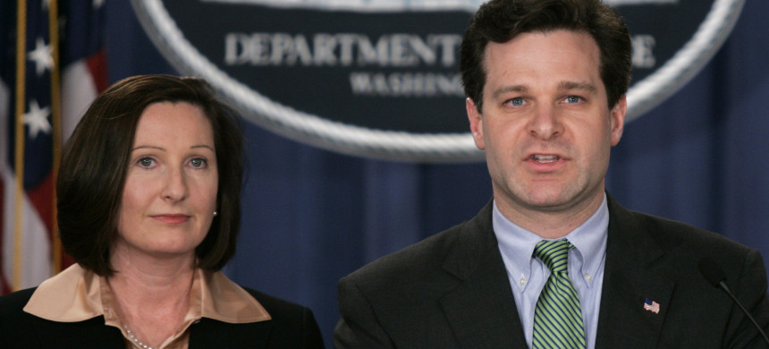 Christopher Wray with Mary Beth Buchanan, then the director of the Executive Office for US Attorneys, at a 2005 press conference in Washington. (photo: Lawrence Jackson/AP)