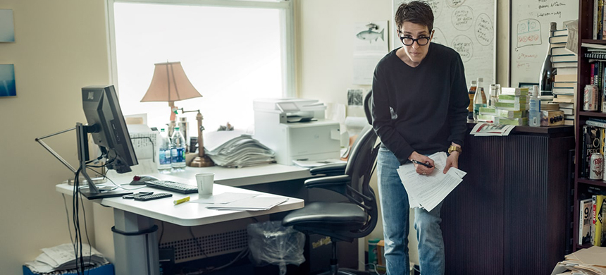 Rachel Maddow in her office in 30 Rockefeller Center. Her show is now number one in cable news. (photo: Mark Seliger/Rolling Stone)