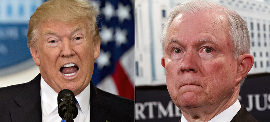 Donald Trump and Jeff Sessions. (photo: Andrew Harrer/Alex Wong/Getty Images)