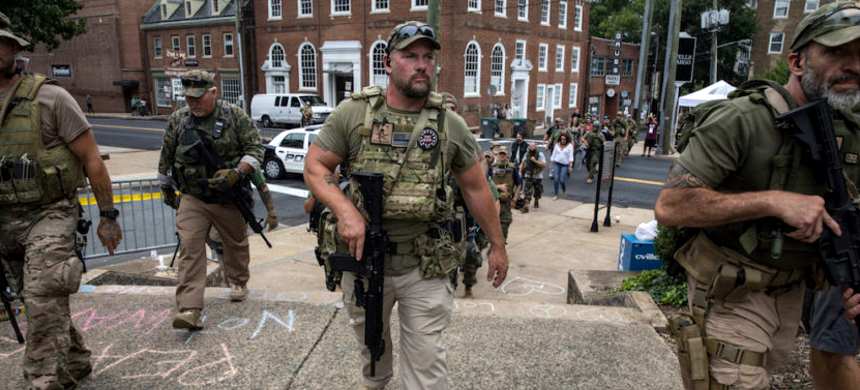 A militia group in Charlottesville, Virginia. (photo: Getty Images)