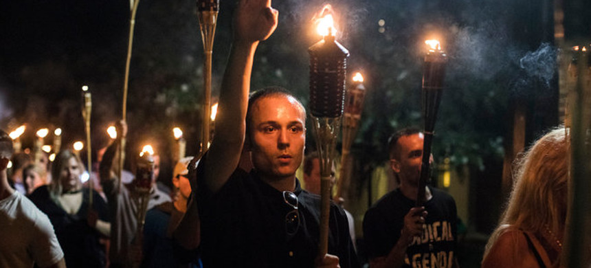 White supremacists marching in Charlottesville. (photo: Getty)