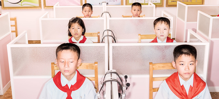 Students at the Pyongyang Orphans' Secondary School, 
