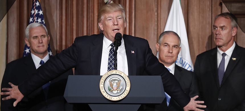 Trump speaking at the Environmental Protection Agency, 
