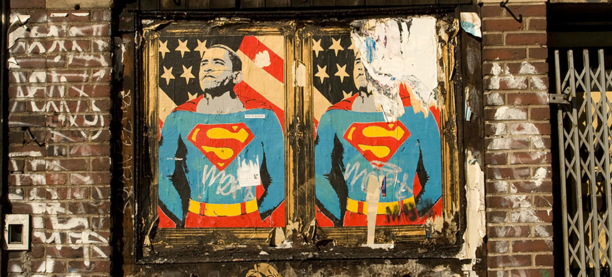 Posters of Barack Obama dressed as Superman. (photo: Guardian UK)