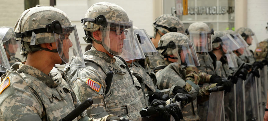 Members of the Virginia National Guard on the  pedestrian mall in Charlottesville, Virginia, following violence at the  Unite the Right rally, August 12, 2017. (photo: Chip Somodevilla/Getty Images)