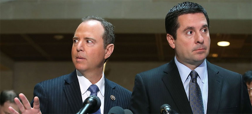 House Intelligence Committee Ranking Member Adam Schiff (D-CA) reacts as Chairman Devin Nunes (R-CA) listens during a joint press conference on Capitol hill, March 20, 2017. (photo: Getty)