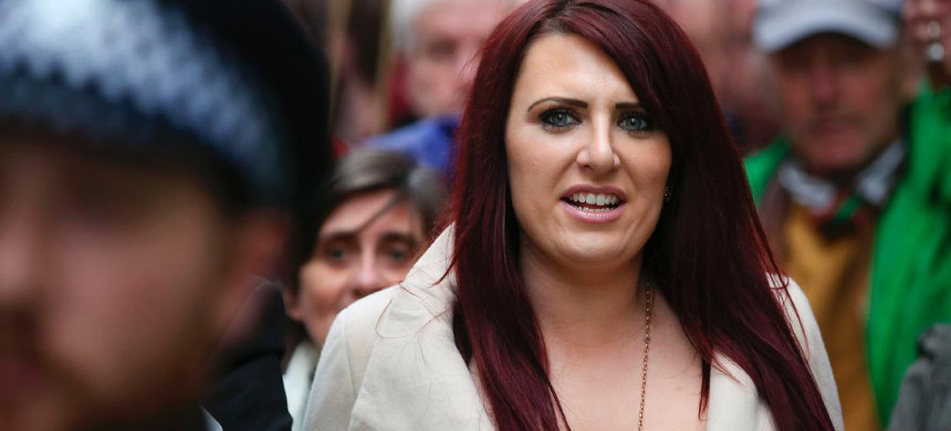 Jayda Fransen of the far-right organization Britain First marches in London on April 1. (photo: Daniel Leal-OlivasAFP/Getty)