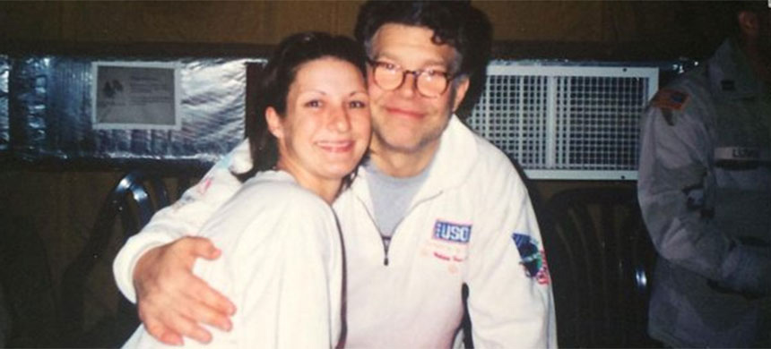 Stephanie Kemplin takes a photograph with Senator Al Franken.  According to CNN this photo was taken at the time Kemplin says Franken was groping her right breast. (photo: CNN)