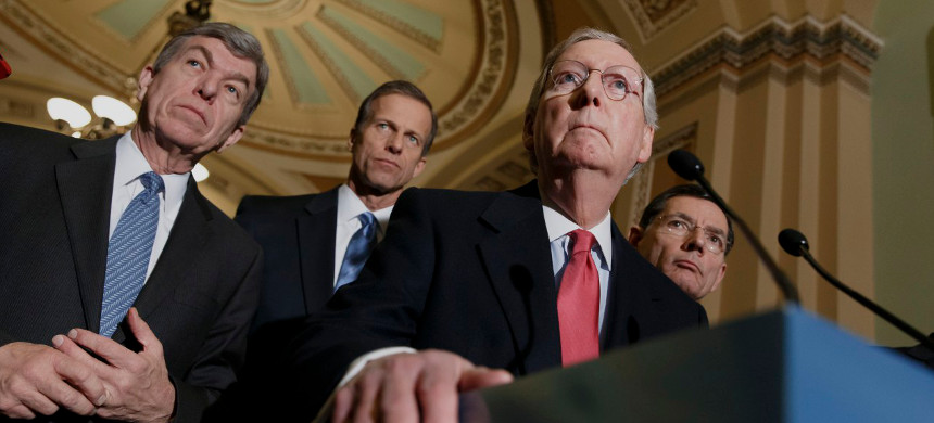 From Left, Sen. Roy Blunt, Sen. John Then, Sen. Mitch McConnell, Sen John Barrasso. (photo: J. Scott Applewhite/AP)