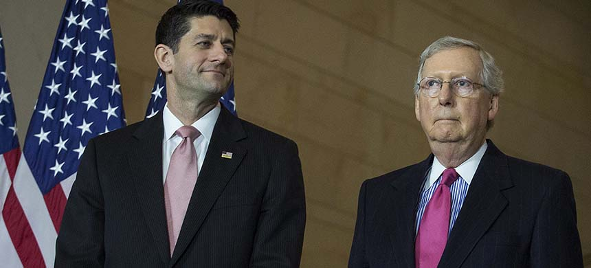 House Speaker Paul Ryan and Senate Majority Leader Mitch McConnell. (photo: Drew Angerer/Getty Images)