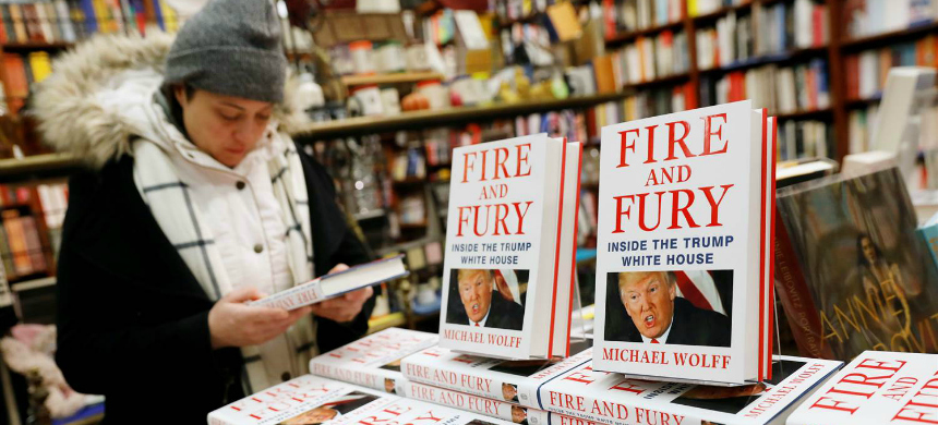 Copies of the book 'Fire and Fury: Inside the Trump White House' by author Michael Wolff at the Book Culture book store in New York, January 5, 2018. (photo: Shannon Stapleton/Reuters)