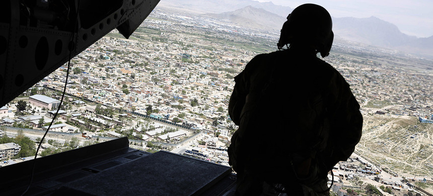 US soldier over Kabul. (photo: Jonathan Ernst/Getty)
