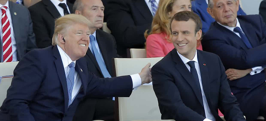 Donald Trump and Emmanuel Macron. (photo: Michel Euler/AP)