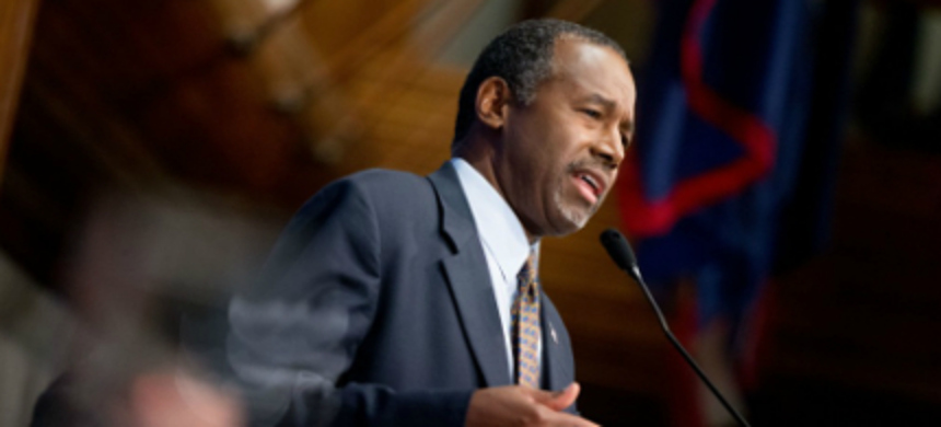 Dr. Ben Carson speaking at a luncheon at the National Press Club. (photo: Andrew Harnik/AP)