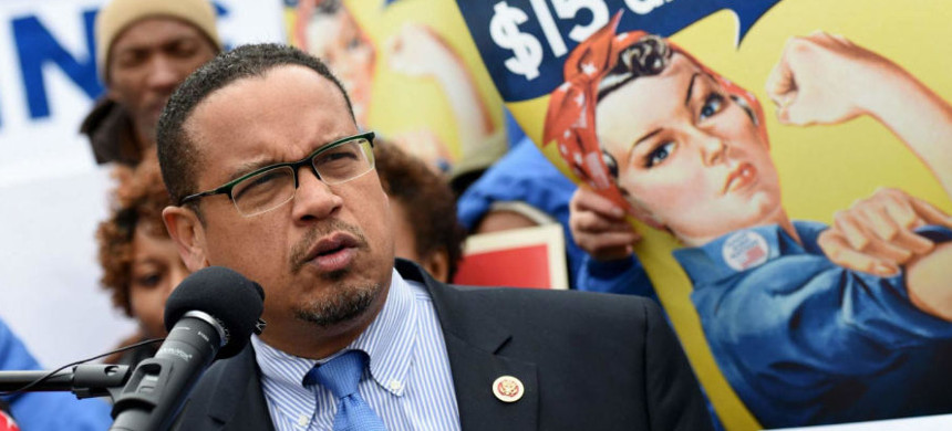 Representative Keith Ellison speaks at a rally on Capitol Hill held by low-wage contract workers in Washington, D.C., November 13, 2014. (photo: Molly Riley/AP)