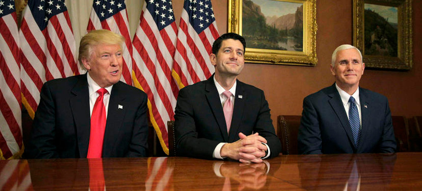 U.S. President-elect Donald Trump (L) meets with Speaker of the House Paul Ryan (R-WI) (C) and Vice-President elect Mike Pence. (photo: Joshua Roberts/Reuters)