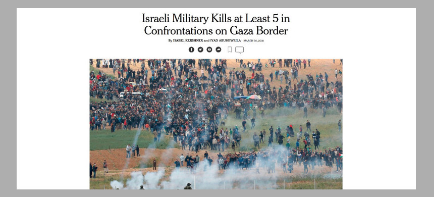 New York Times article on Israel firing on peaceful protesters. (photo: The New York Times)
