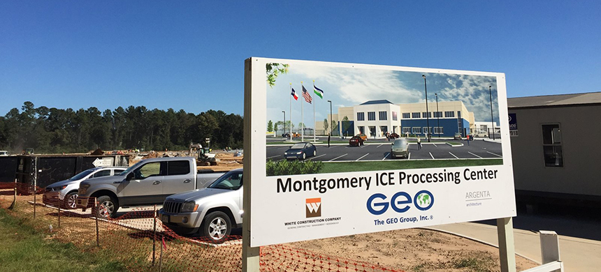 A new Immigration and Customs Enforcement detention facility on this site in Conroe, Texas, will house up to 1,000 immigrants at a cost of $44 million a year to U.S. taxpayers. (photo: John Burnett/NPR)