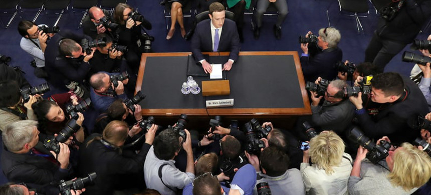 Mark Zuckerberg testified before a joint hearing of the Commerce and Judiciary Committees on Capitol Hill in Washington Tuesday. (photo: Pablo Martinez Monsivais/AP)
