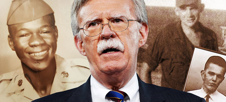 'Our new national security adviser, John Bolton, was born on the same day in 1948 as Weyman Cook, Jerry Miller, and Richard Lassiter, whose own chances for future achievements ended when they were killed in Vietnam.' (image: Daily Beast)