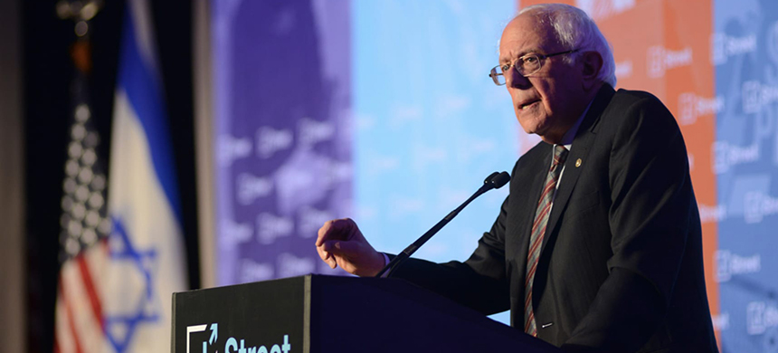 Vermont senator Bernie Sanders speaks at the annual J Street conference in Washington, April 14, 2018. (photo: Gili Getz)