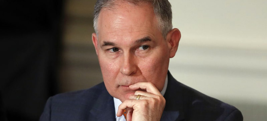 EPA administrator Scott Pruitt attends a meeting with state and local officials and President Trump about infrastructure in the State Dining Room of the White House. (photo: Carolyn Kaster/AP/REX)