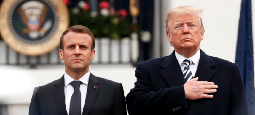 Emmanuel Macron and Donald Trump. (photo: Jonathan Ernst/Reuters)