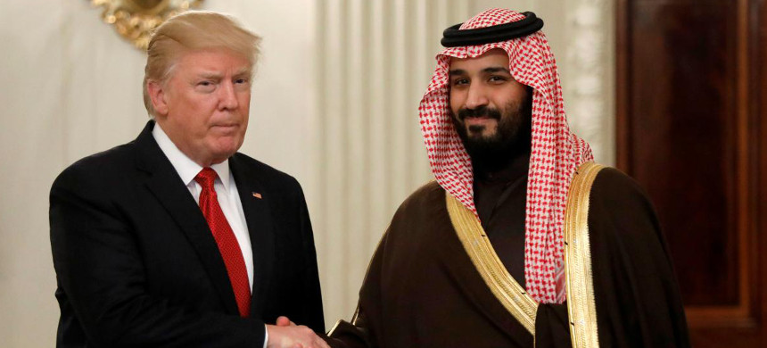 President Trump with the Crown Prince of Saudi Arabia, both of whom are pushing for aggressive action against Iran. (photo: Getty)