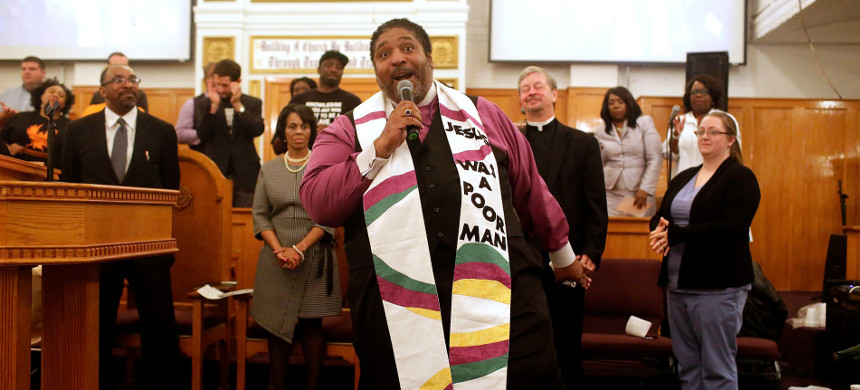 'Something's wrong in America.' William Barber, a pastor, is one of the co-chairs of the Poor People's Campaign. (photo: Joshua Lott/Guardian)