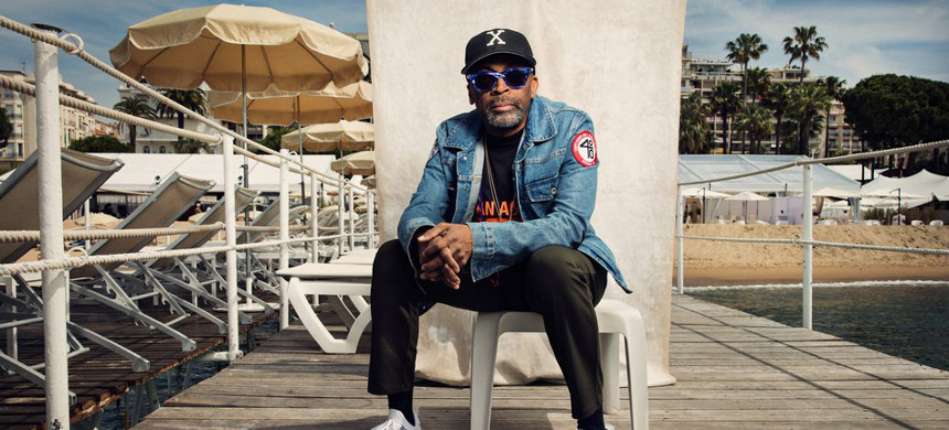 Director Spike Lee at Cannes Film Festival. (photo: Justin Bishop/Vanity Fair)