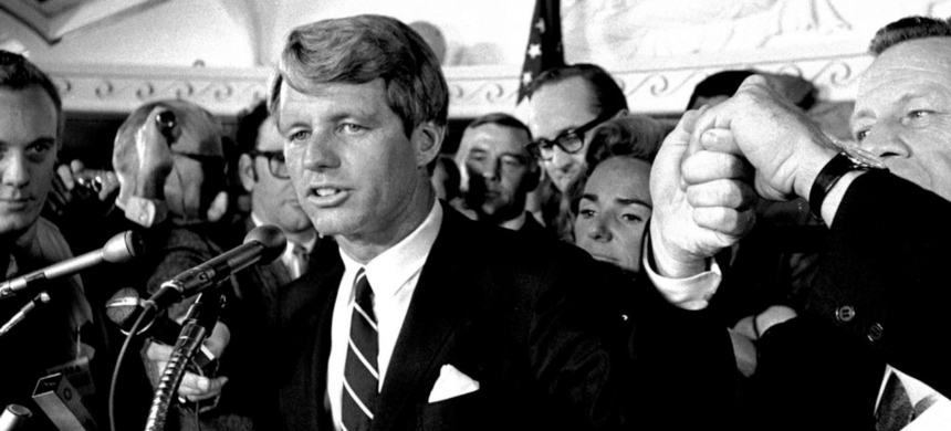 Robert F. Kennedy delivers his victory speech for the 1968 California democratic primary at the Ambassador Hotel in Los Angeles. Moments later he was shot. (photo: Dick Strobel/AP)