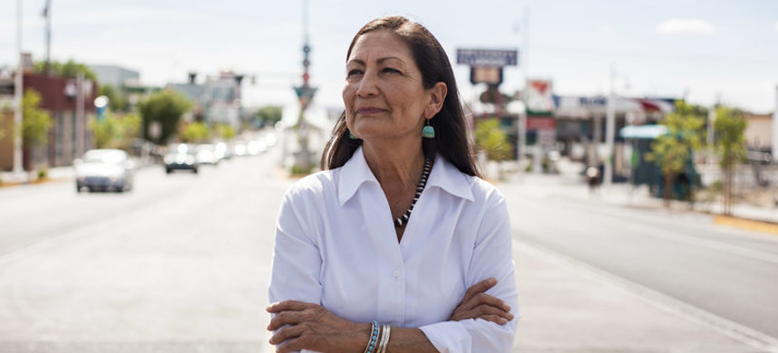 Deb Haaland poses for a portrait in a Nob Hill Neighborhood in Albuquerque, N.M., on June 5. (photo: Juan Labreche/AP)