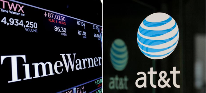 A combination photo shows the Time Warner shares price at the New York Stock Exchange and ATT logo in New York, NY, U.S., on November 15, 2017 and on October 23, 2016 respectively. (photo: Lucas Jackson/Stephanie Keith/Reuters)