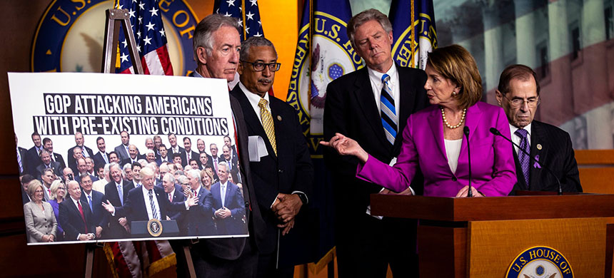 Nancy Pelosi, the House minority leader at a press conference in June. (photo: Al Drago/NYT)